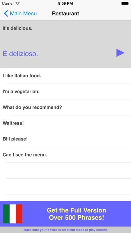 Speak Italian Travel Phrasebook Lite