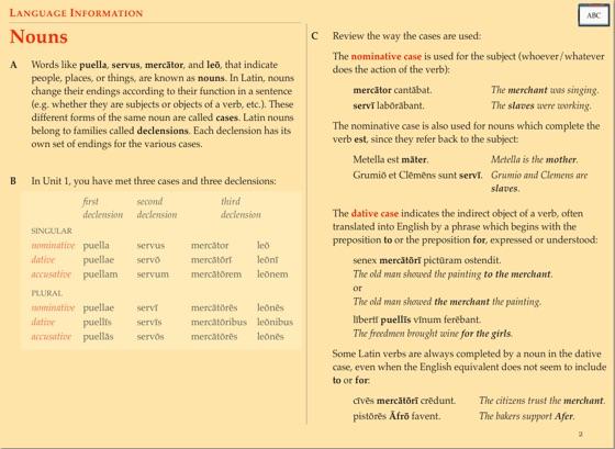 Cambridge Latin Course Unit 1 Language Information On