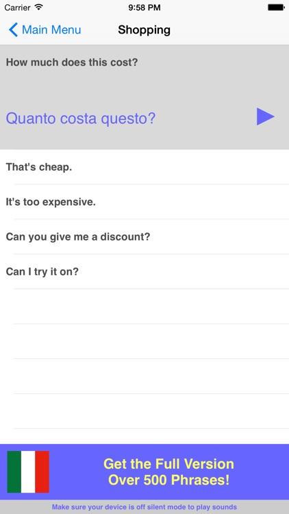 Speak Italian Travel Phrasebook Lite screenshot-3