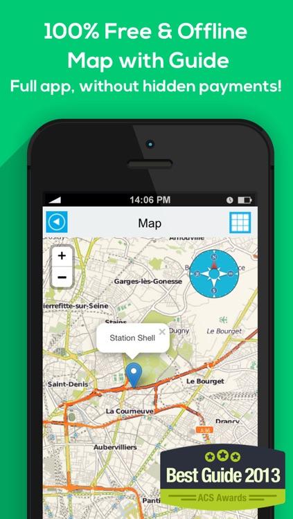 France offline map, guide, weather, hotels. Free navigation.