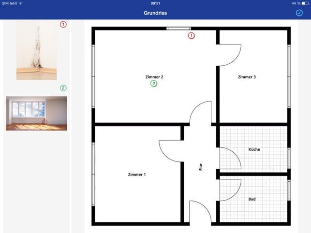 wohnungsabnahme protokoll f r wohnungs bergabe und wohnungsr ckgabe im app store. Black Bedroom Furniture Sets. Home Design Ideas