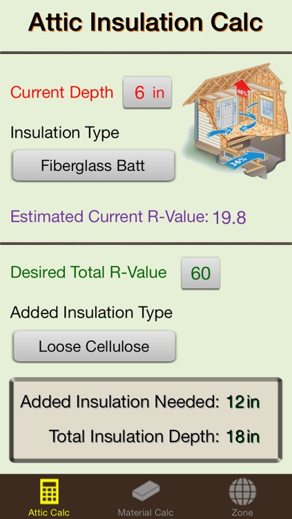 Insulation Calc Elite - Industry leading insulation calculator designed for contractors and homeowners, add R-value and save energy
