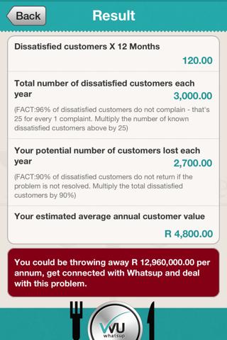 Screenshot of Whatsup Feedback Service for Restaurants