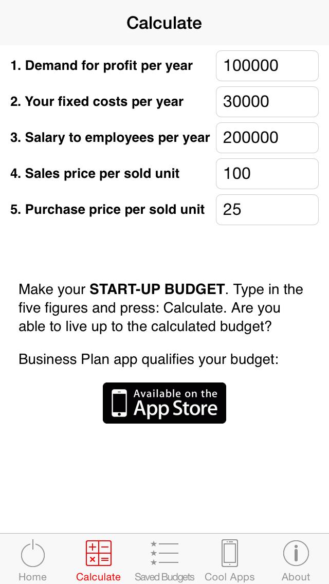 Start-up Budget screenshot