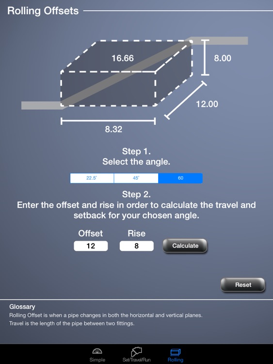 Pipe Offset Calculator for iPad