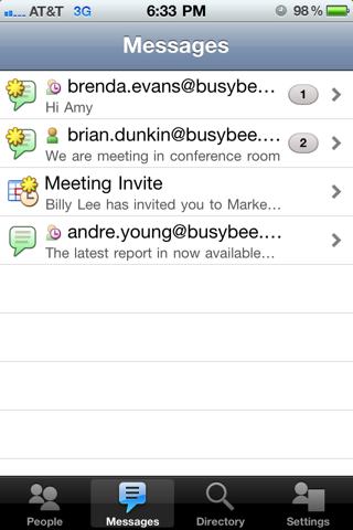 Screenshot of Oracle Beehive Mobile Communicator