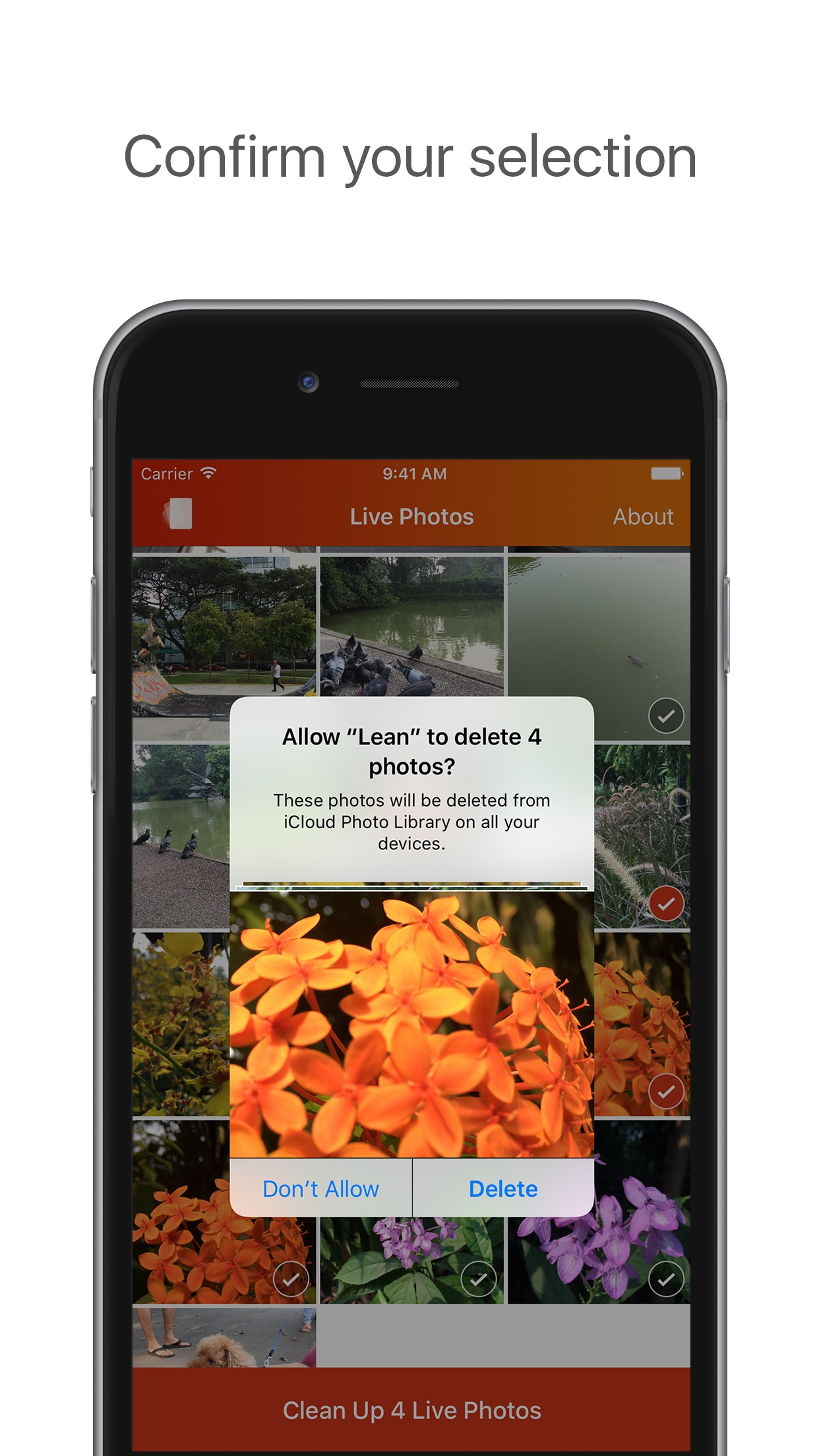 Screenshot do app Lean - Clean up your Live Photos
