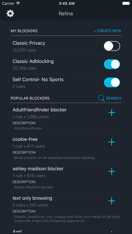 Refine - Customizable Ad Blocker for Safari