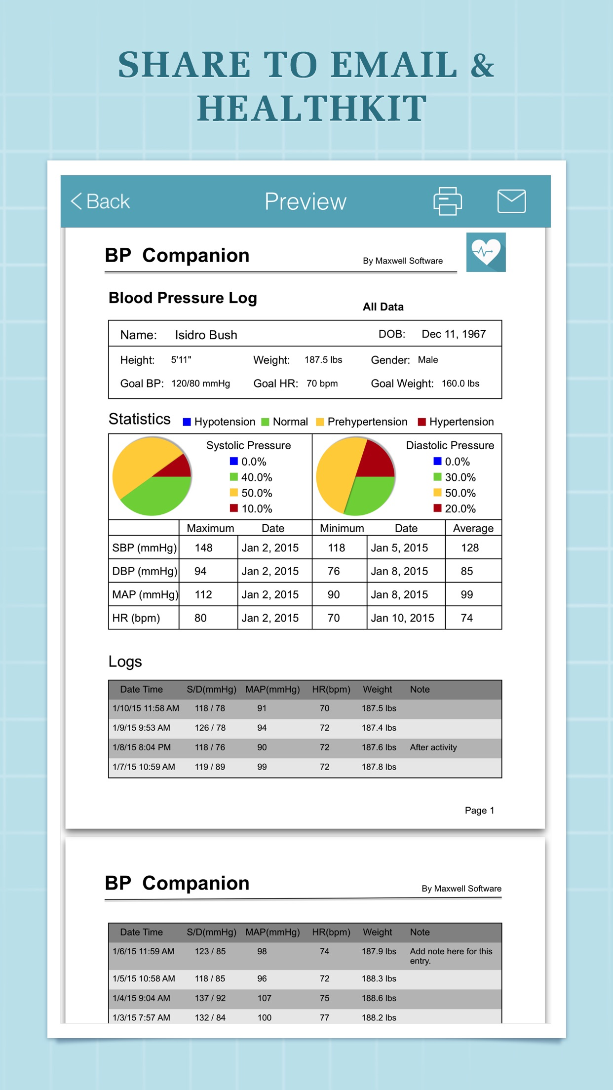Blood Pressure Companion - BP Tracker and Log Screenshot