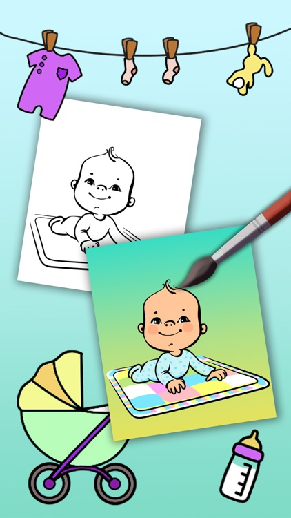 Paint Baby's Coloring Book - Color and paint new born babies drawings and paintings pictures & illustrations - Premium