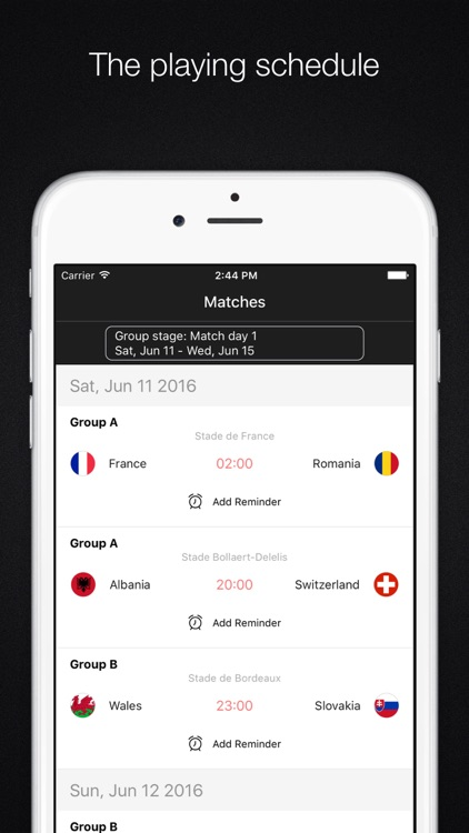 EURO 2016 - Scoreboard,Football schedule,Matches reminder screenshot-3