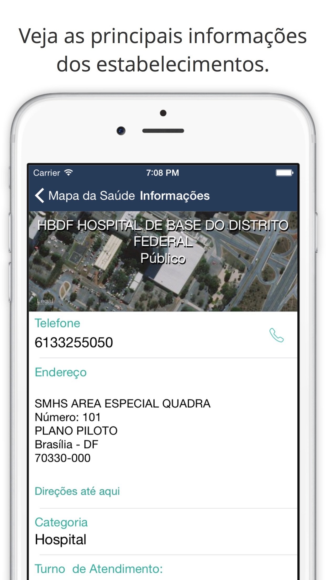 Screenshot do app Mapa da Saúde