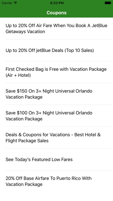Coupons for jetBlue Traveling App