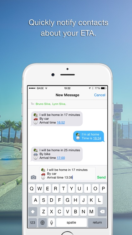 Coming Home - Share ETA (Send your arrival time.)