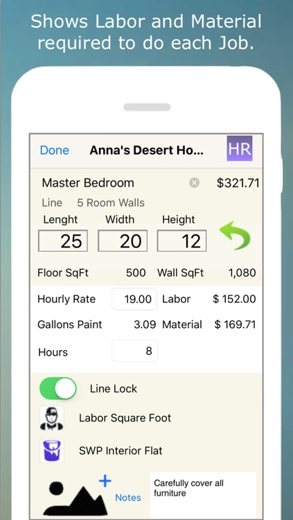 Painting Contractor Estimating and Invoicing Tool (for many trades: Painters, Decorators, Designers, Artists, Wallpaper, Handymen, Home Improvement, Carpenters, Home Builders and more) screenshot-2
