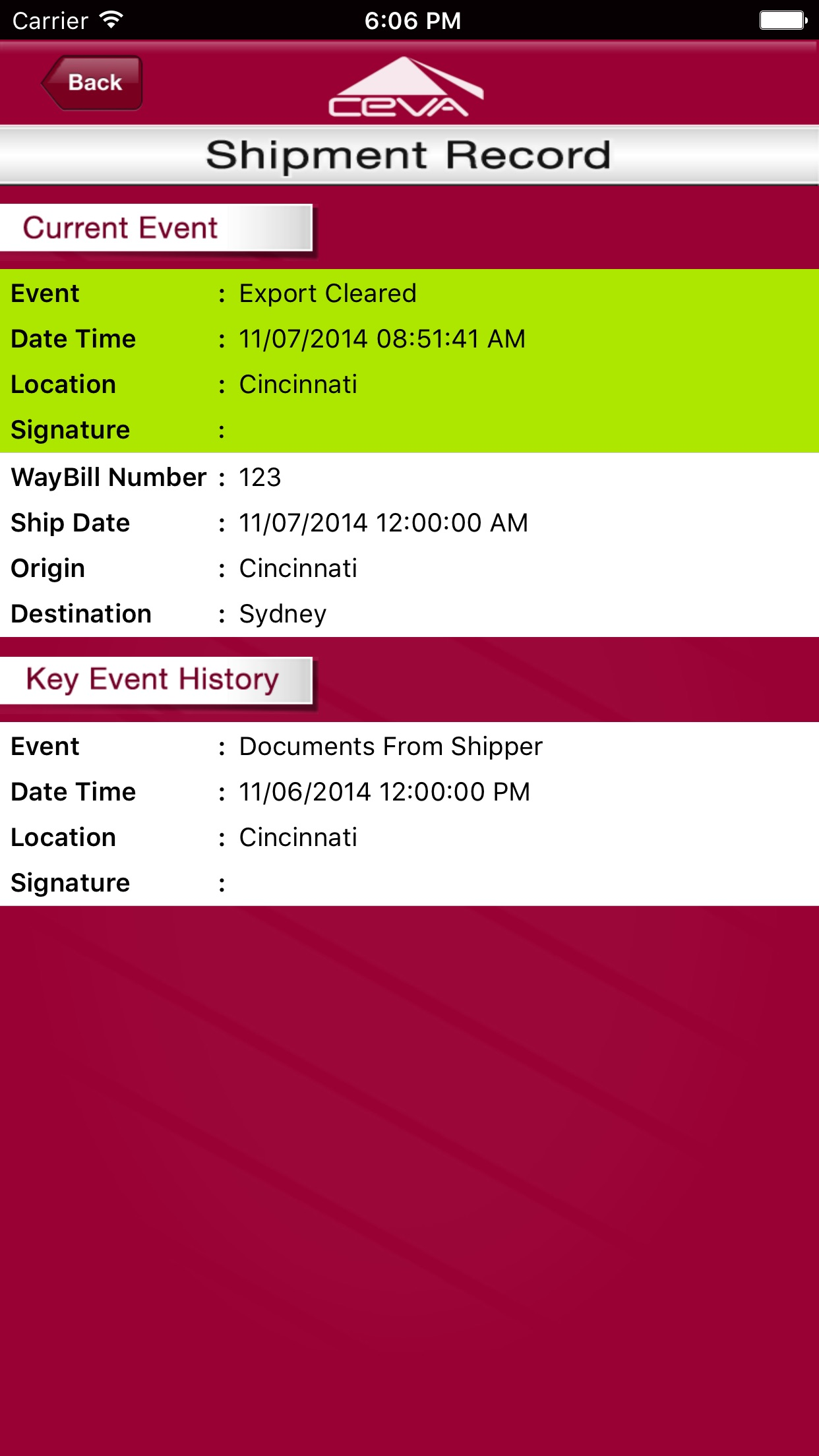 CEVA Logistics Screenshot