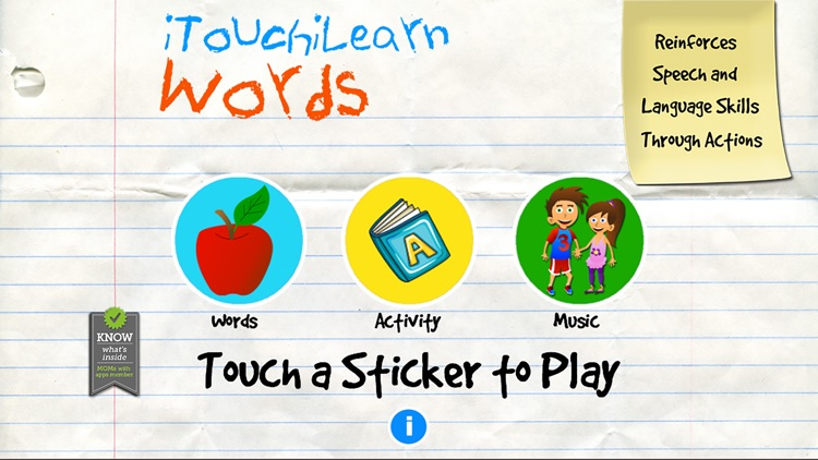 iTouchilearn Words for Preschool Reading, Spelling, Speech Skills screenshot-0