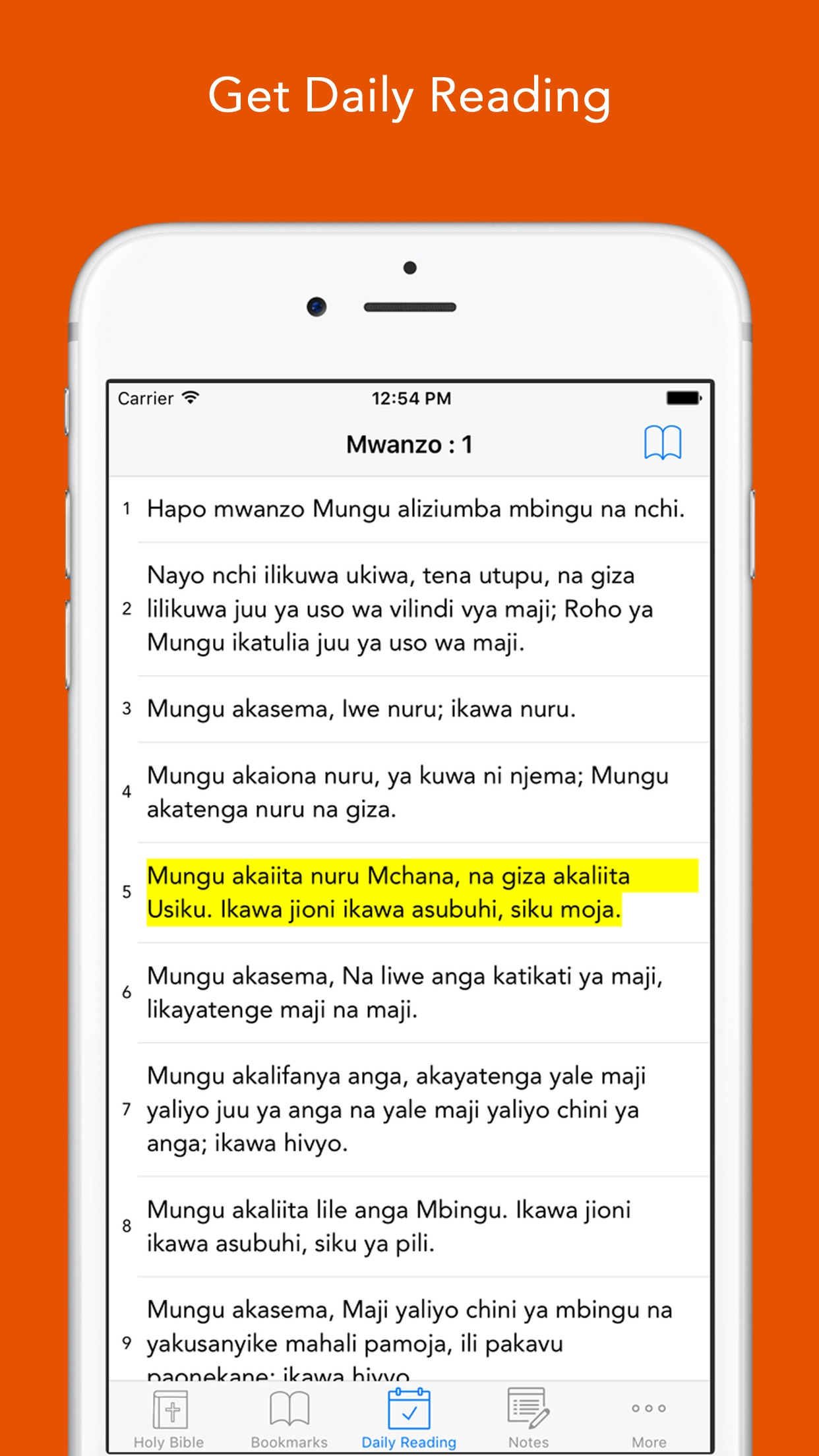 Swahili Bible: Easy to use Biblia Takatifu app for daily offline Bible book reading Screenshot