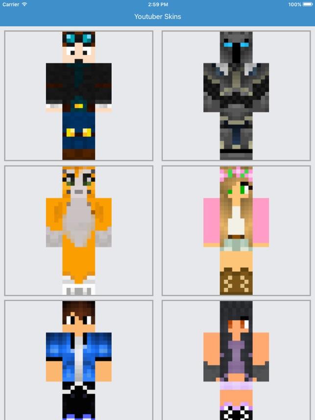 Youtuber Skins Best For Minecraft PE Free App On The App Store - Skins para minecraft pe de youtubers