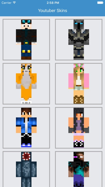 Youtuber Skins - Best for Minecraft PE Free App