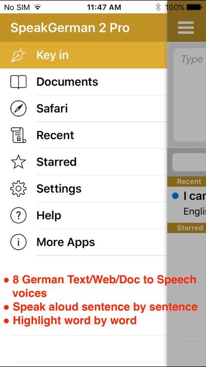 SpeakGerman 2 Pro (8 German Text-to-Speech) screenshot-0