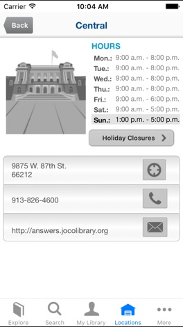 Johnson County Library screenshot for iPhone