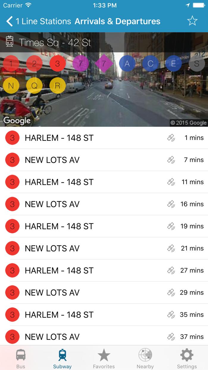 NY Subway & Bus - New York City (NYC) MTA Realtime Transit Tracker and Map Screenshot