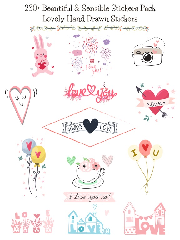 Hand Drawn Send Love Stickers screenshot 6