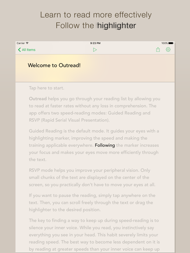 Outread – Speed Reading Screenshot