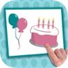 誕生日カードと祝福し、幸せな誕生日の願いをデザインはがきを作成します。