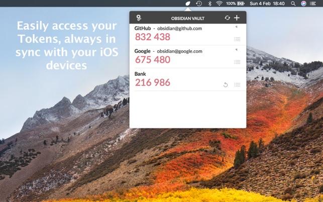 Mac App Store: Obsidian - OTP Authenticator
