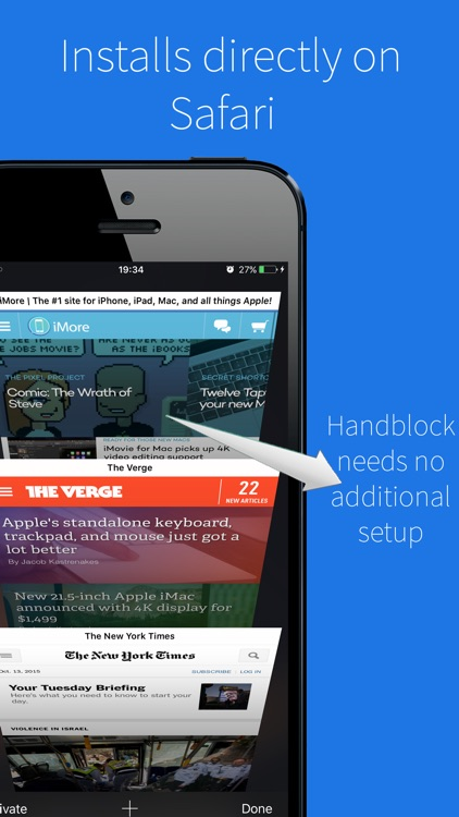 Handblock - Peace browsing without ads & trackers screenshot-0
