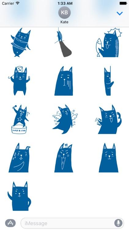 Blue Cat Stickers screenshot-3