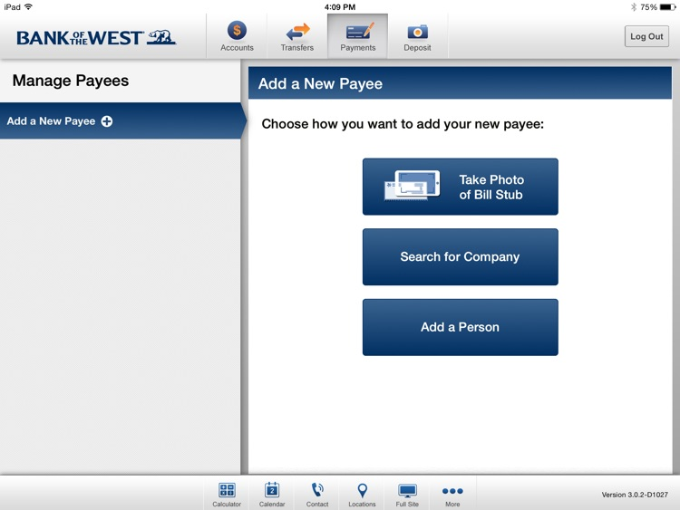 Bank of the West Mobile Banking iPad App screenshot-2