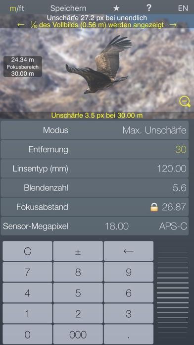 Fokus Hyperfokalrechner TiefenschärfeScreenshot von 3