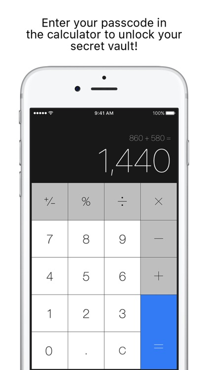 Secret Calculator + Private photo and video vault app image