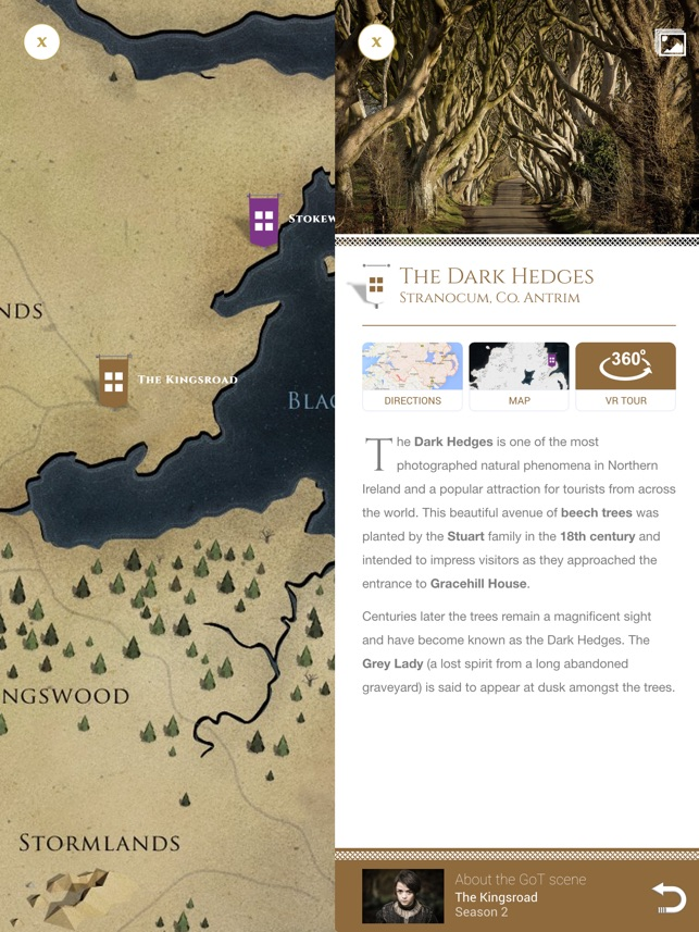 Game of Thrones Locations on the