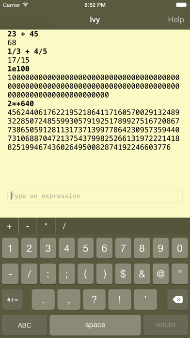 Ivy big number calculator-0