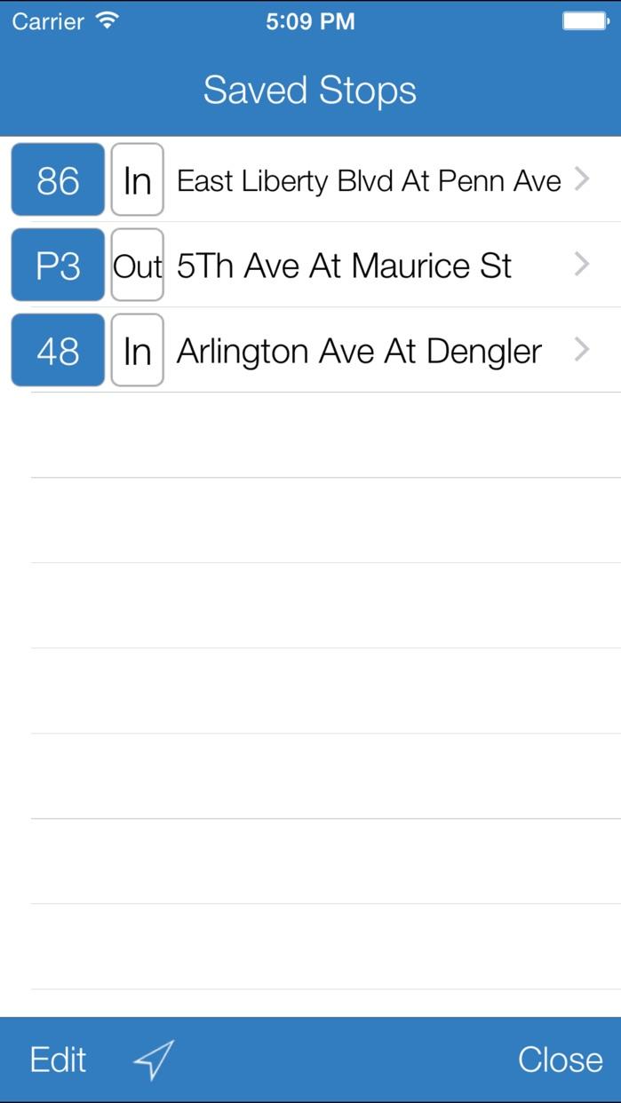 Transit Stop: Pittsburgh Port Authority Tracker. Screenshot