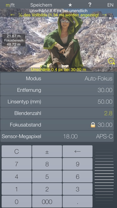 Fokus Hyperfokalrechner TiefenschärfeScreenshot von 1