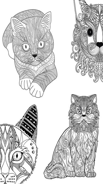 Cats mandalas coloring book for adults - Premium screenshot-3
