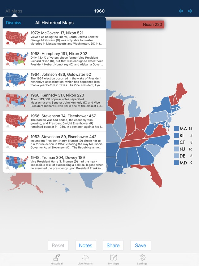 Map Of Us Electoral College Votes.Presidential Election Electoral College Maps On The App Store