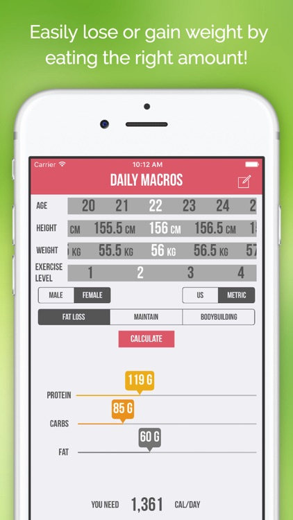 Daily Macros - Harris Benedict Formula Based Carb, Protein, Fat Macronutrient ratios and Calorie Calculator screenshot-3