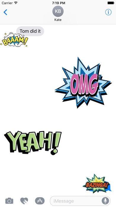 OMG Bazinga Comic Book Speech Bubbles Stickers-1