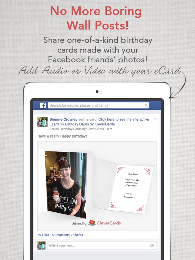 Clevercards greeting cards ecards for facebook on the app store bookmarktalkfo Choice Image