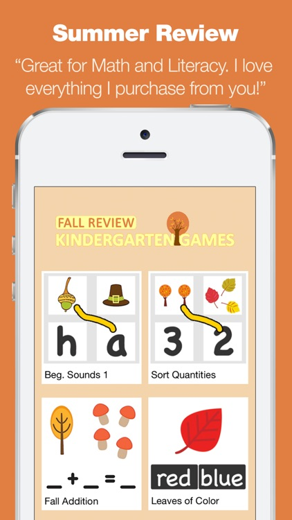 Kindergarten Learning Games - Fall Review App