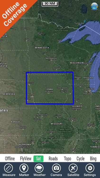 IOWA Lakes HD GPS tracker fishing spot Map offline by Flytomap