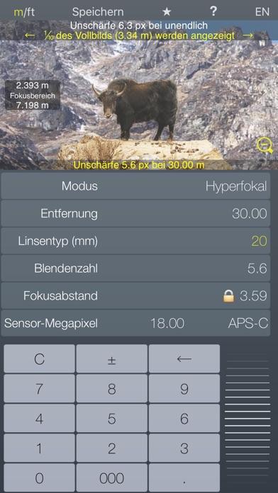 Fokus Hyperfokalrechner TiefenschärfeScreenshot von 4