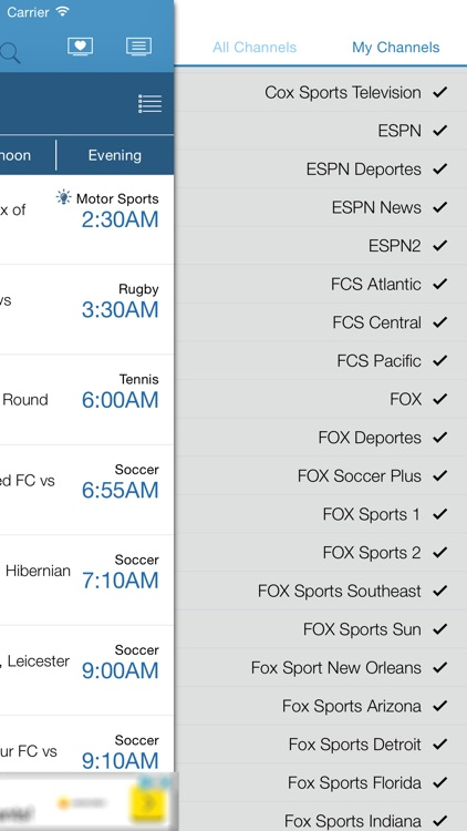 US Live Sport TV Listings