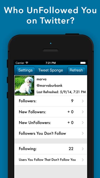 Tweet Sponge - UnFollow Stats Screenshot